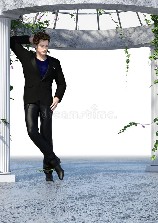Black Tint Dandy. 3d render of handsome dandy in black suit outfit leaning on a column of an open white patio surrounded by blossoming ivy stock illustration