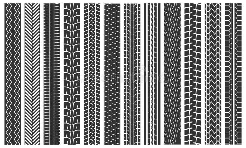 Black Tire Tracks Seamless Pattern Background. Vector royalty free illustration