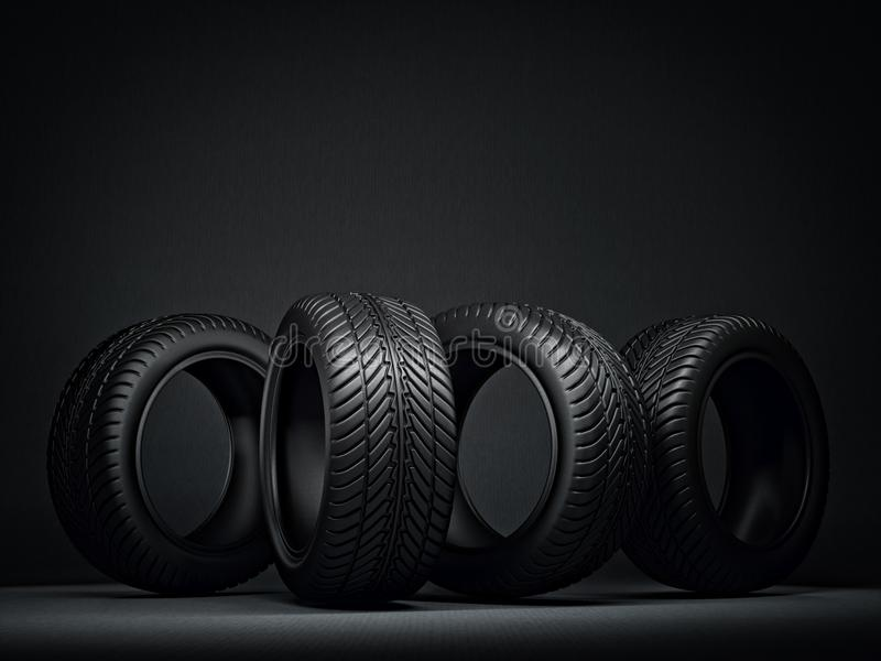 Tires. Black tires isolated on a black. 3d illustration royalty free illustration