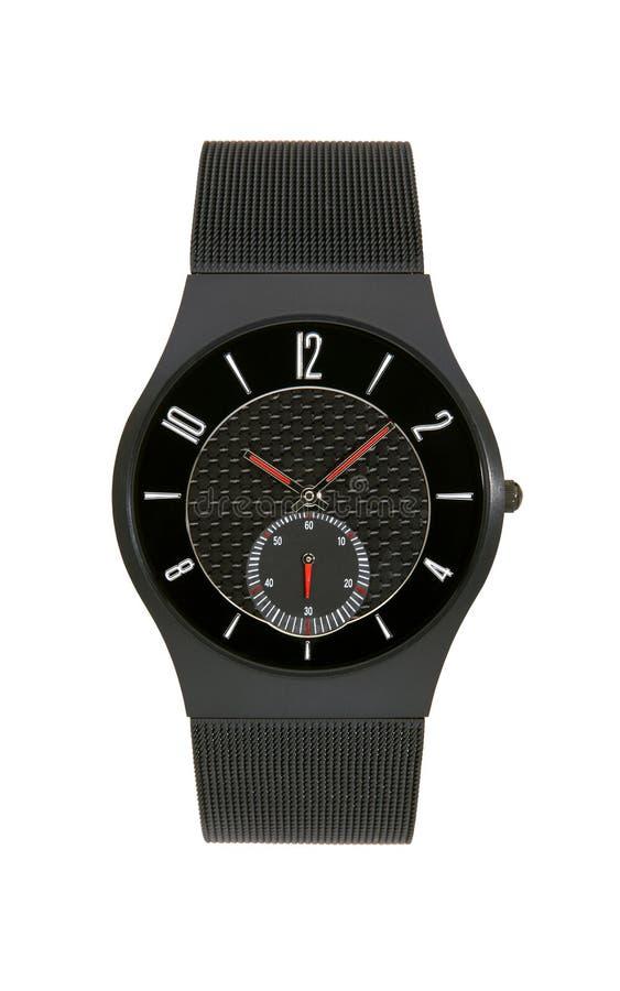 Black titanium wrist watch isolated background. Black titanium wrist watch isolated on white background stock photography