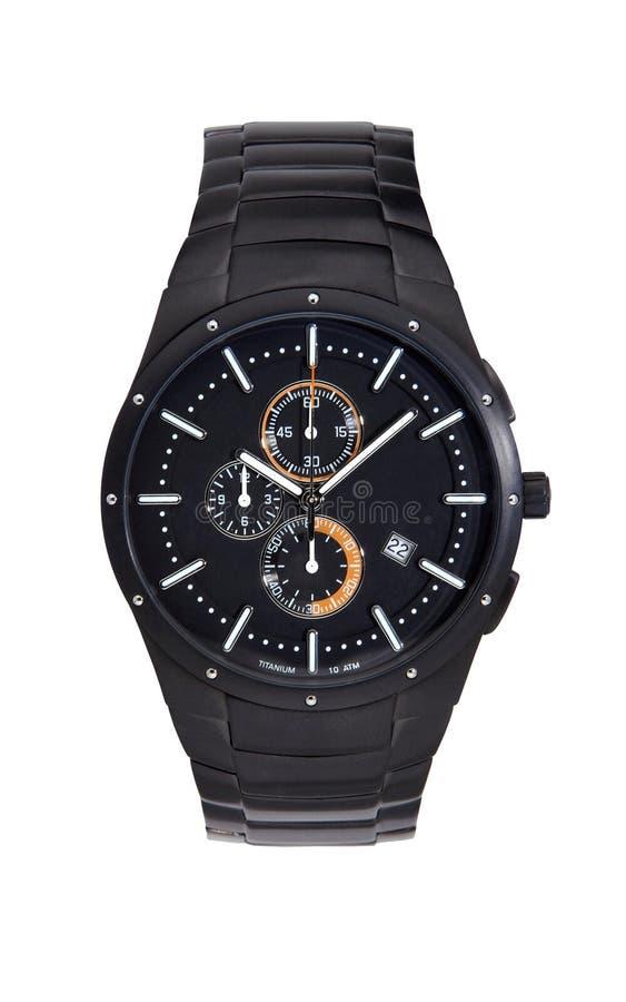Black titanium wrist watch isolated on white. Background royalty free stock image