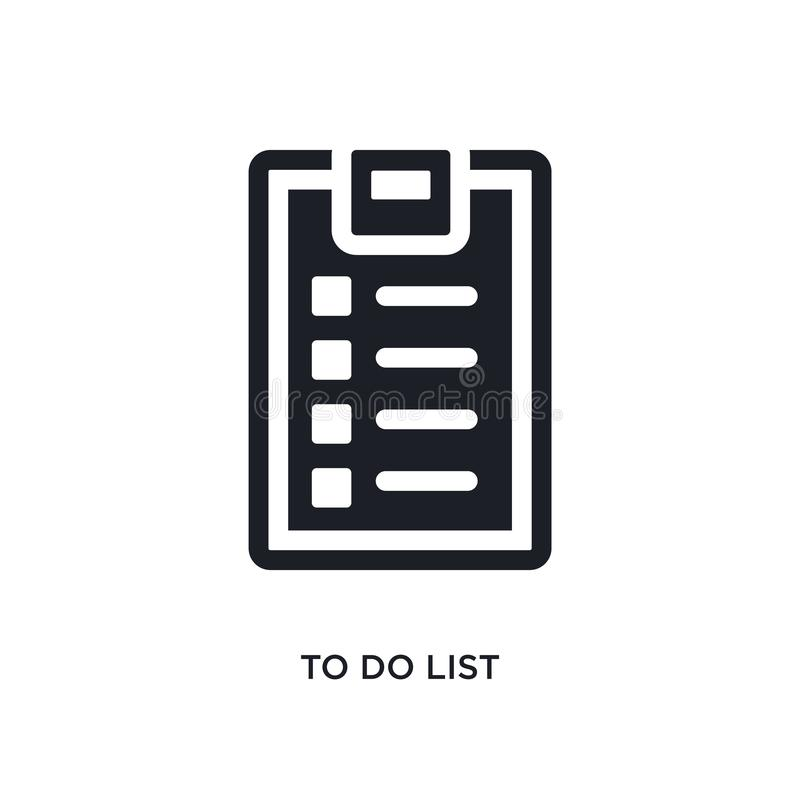 black to do list isolated vector icon. simple element illustration from gym and fitness concept vector icons. to do list editable stock illustration