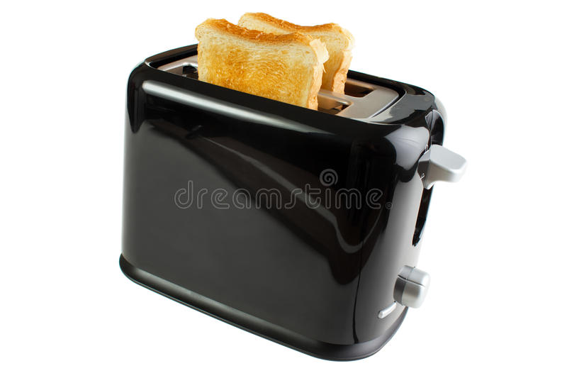 Black toaster. With bread slices , isolated on white stock photography