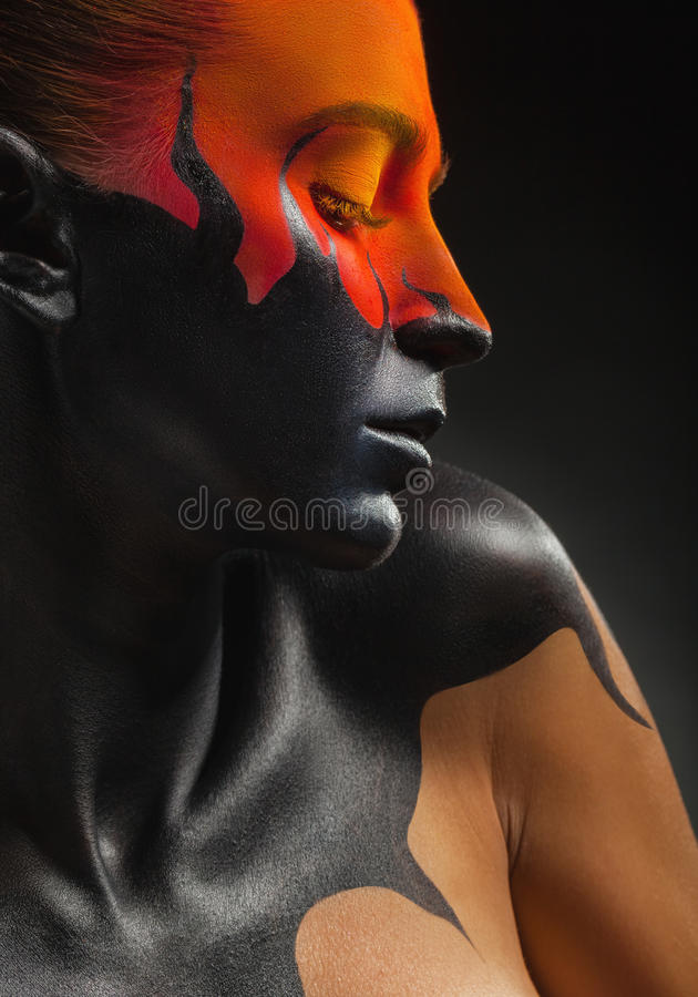 Black tongues of flame stock images