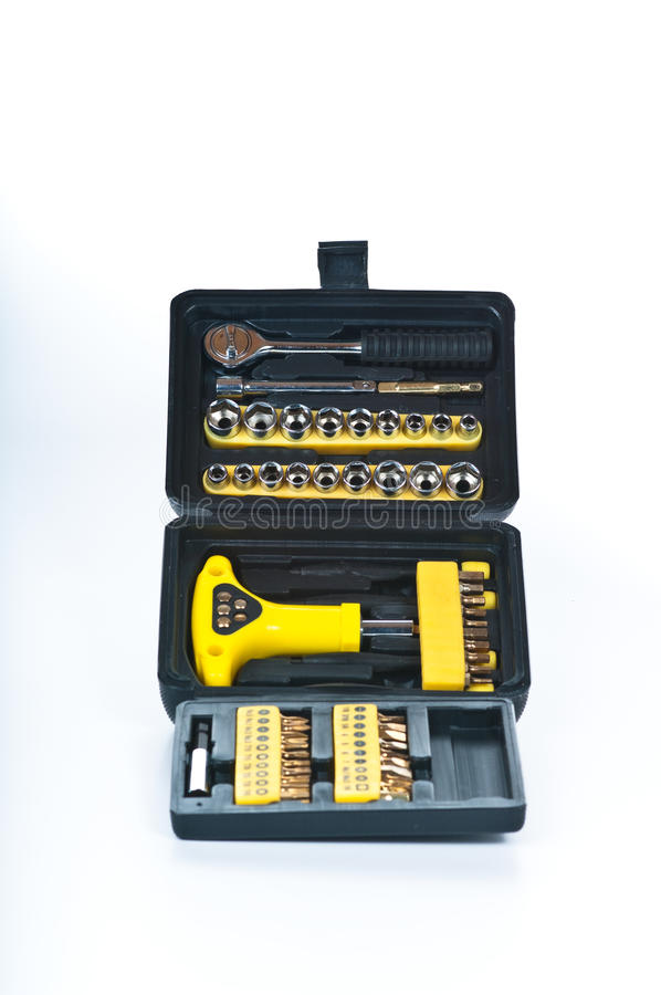 Black tool box with tools stock image