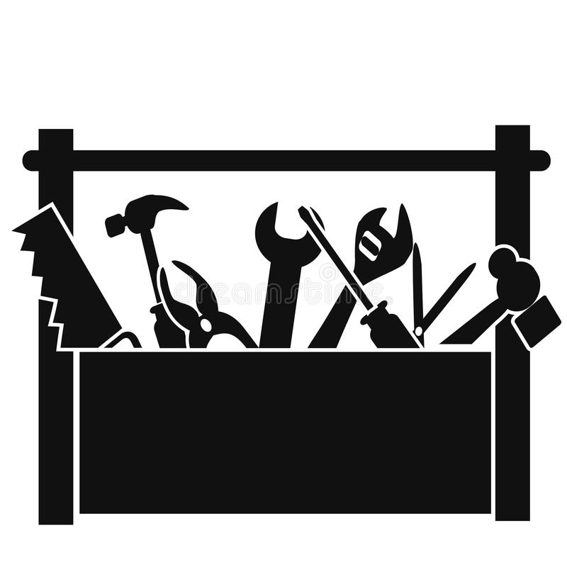 Black tools box royalty free illustration