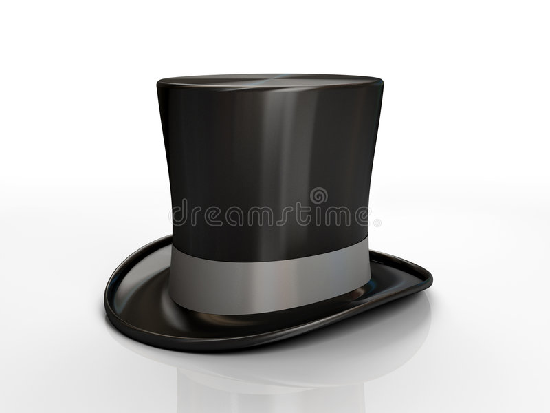 Black top hat. Isolated on white background 3D stock illustration