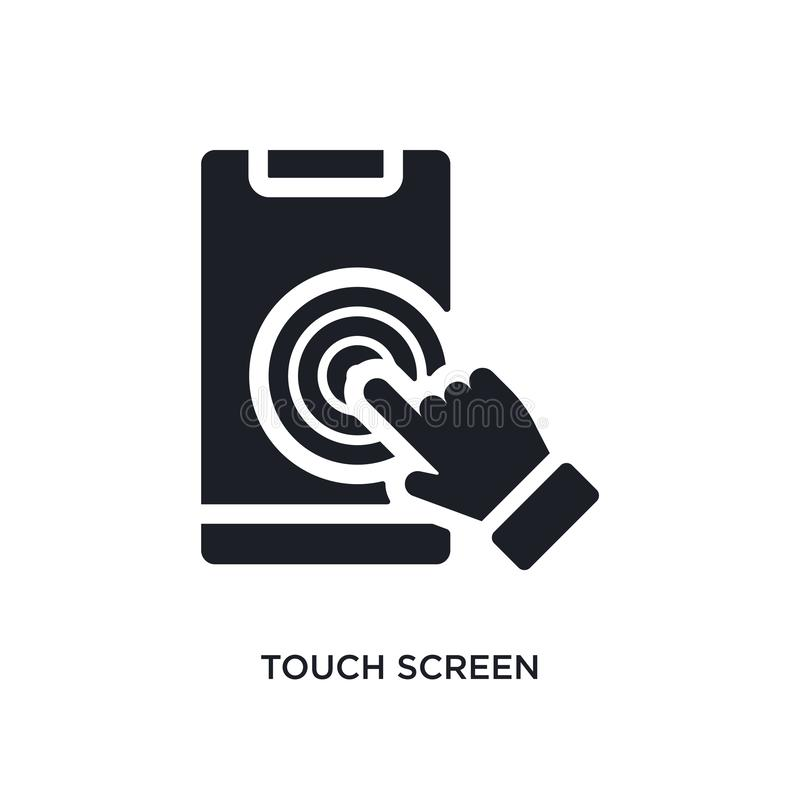 Black touch screen isolated vector icon. simple element illustration from augmented reality concept vector icons. touch screen. Editable black logo symbol stock illustration