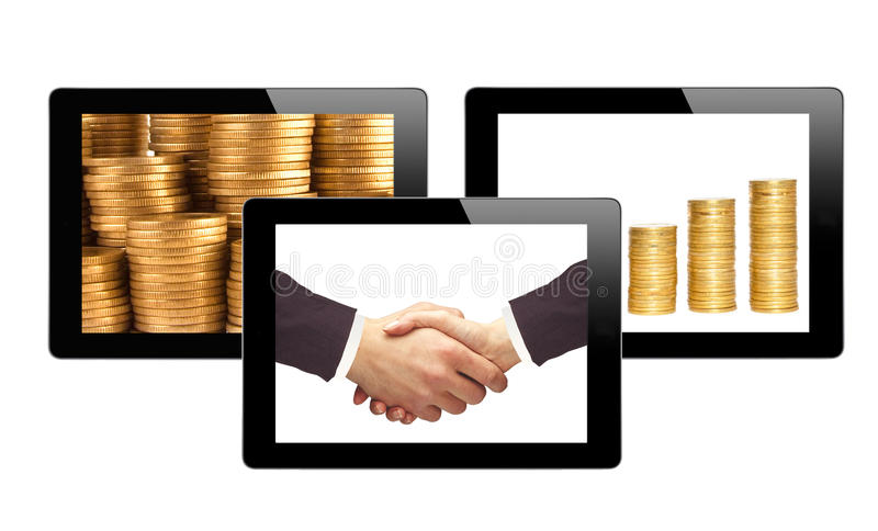 Black Touch Screen Tablets and business items. Isolated on white background stock photos