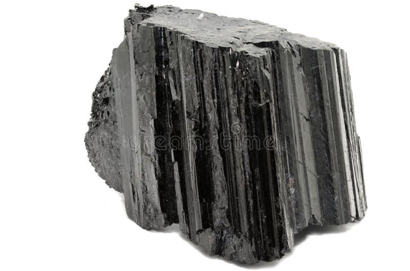 Black Tourmaline-Shorl nature specimen. Sample of a beautiful Shorl- Black Tourmaline nature specimen isolated on white background stock photography
