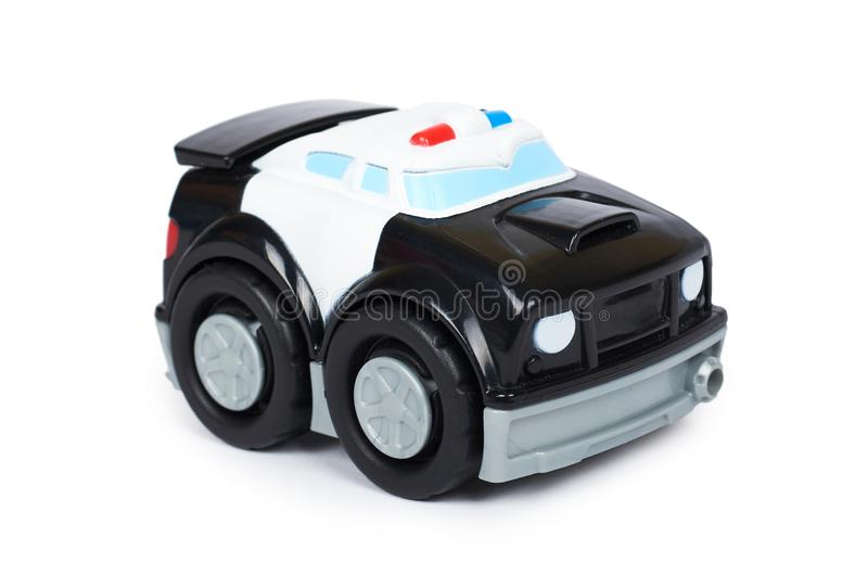 Black toy police car, isolated on white background.  stock photography