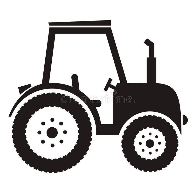 Black tractor. With exhaust and seat, vector icon. Black silhouette vector illustration