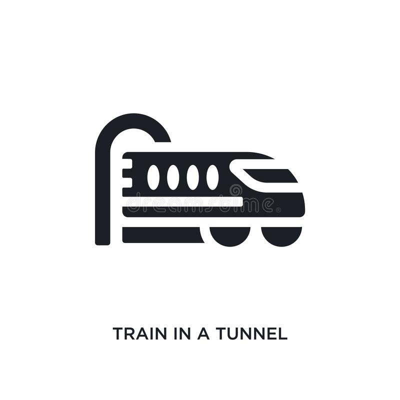 Black train in a tunnel isolated vector icon. simple element illustration from transport-aytan concept vector icons. train in a. Tunnel editable logo symbol vector illustration