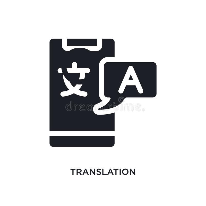 black translation isolated vector icon. simple element illustration from artificial intelligence concept vector icons. translation stock illustration
