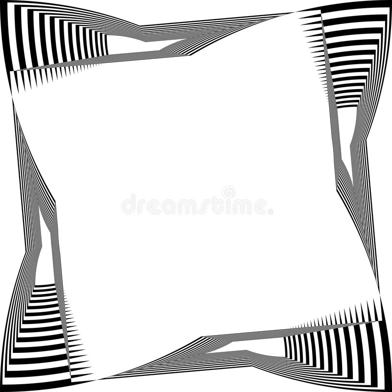 Black on transparent background abstract arabesque distorted piano keyboard frame illusion. Designer graphic stock illustration
