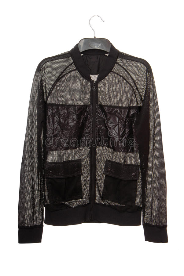 Black transparent jacket is made is of mesh royalty free stock images