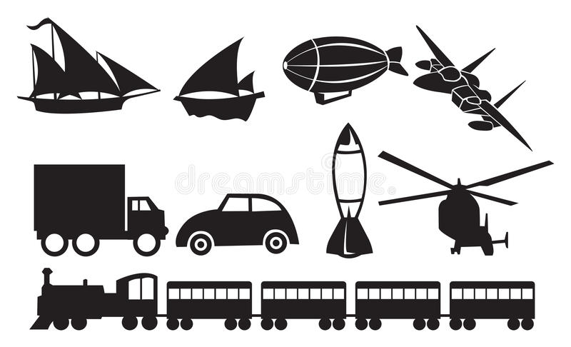 Black Transportation Icons Against White Background Stock