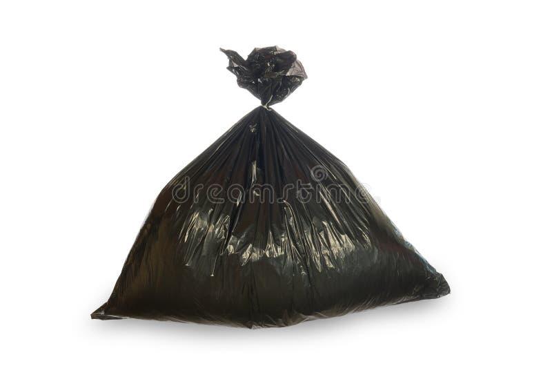 Black trash bag isolated on white royalty free stock photography