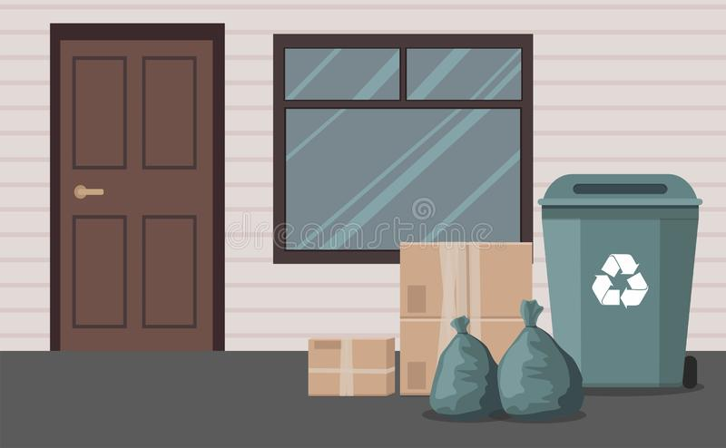 Black trash cans on wheels, garbage bags and boxes near the house. Outdoor. Vector royalty free illustration