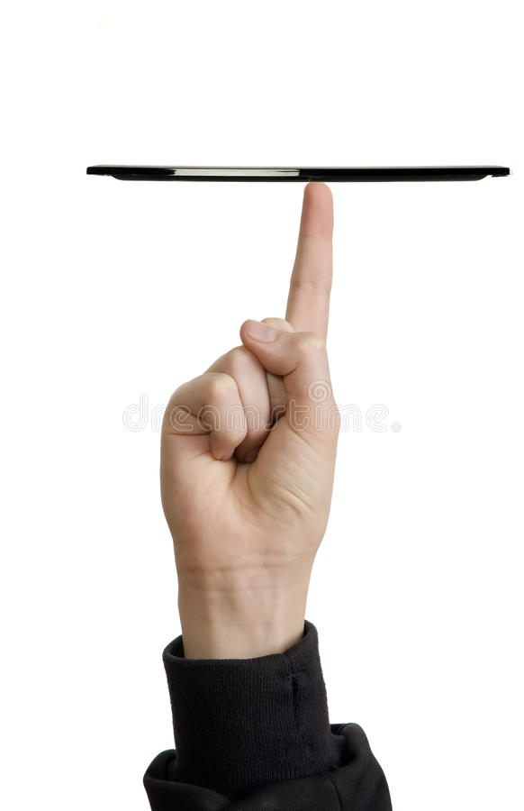 Black tray is on the finger royalty free stock photos