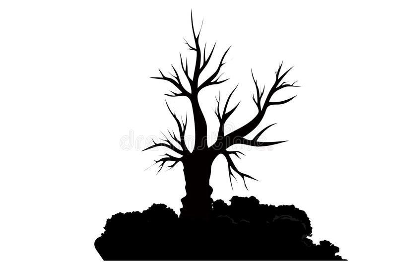 Black - tree, branch silhouette on white background. Illustration design. Grass, retro, simple, nature, natural, element, drawing, creative, halloween, ecology royalty free stock photo
