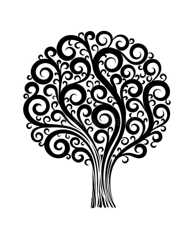 Black tree in flower design with swirls and flouri stock illustration