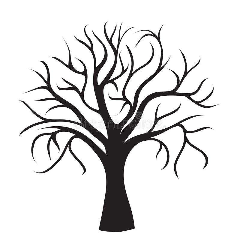 Black tree without leaves stock illustration
