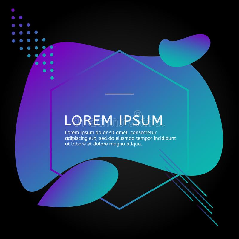 Black trend design template. Neon elements with sea blue gradient. royalty free illustration