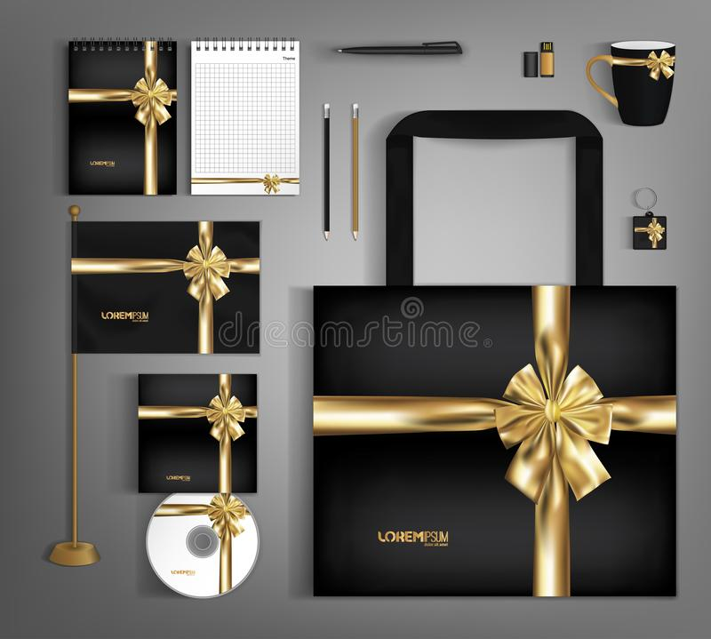 Black trendy corporate identity template design with gold bow. Modern abstract business set stationery stock illustration