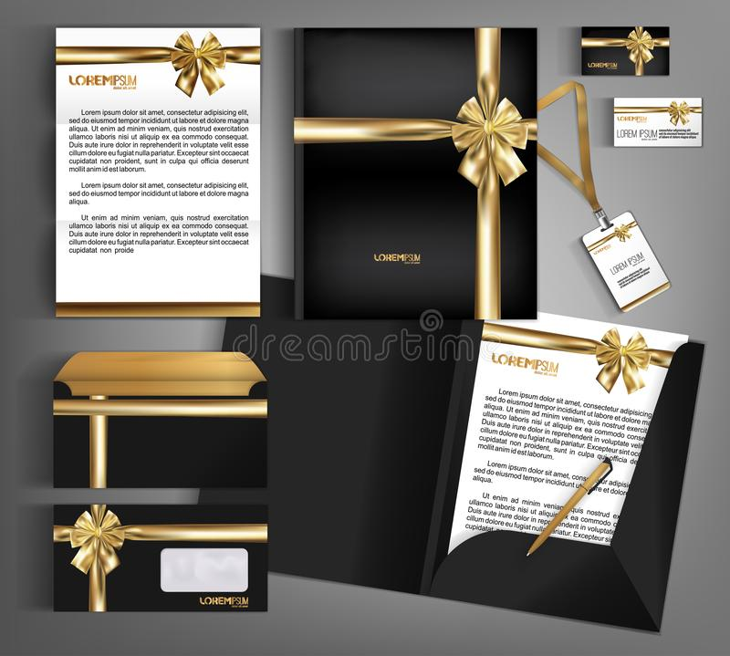 Black trendy corporate identity template design with gold bow. Modern abstract business set stationery vector illustration