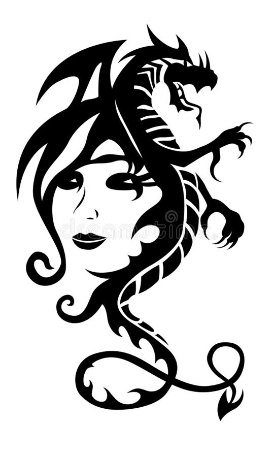 Black tribal dragon tattoo and woman face on white background vector illustration