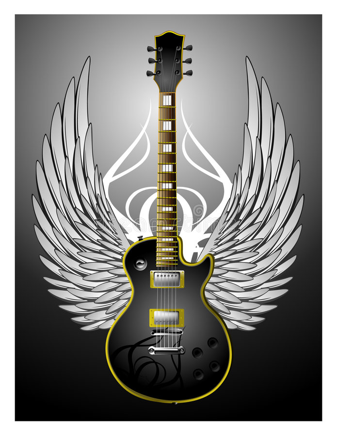 Black Tribal Guitar w/Wings vector illustration