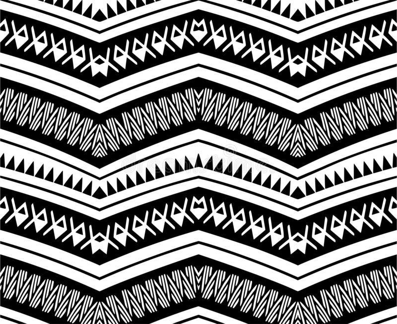 Black tribal Navajo vector seamless pattern with doodle elements. aztec abstract geometric art print. ethnic hipster. royalty free illustration