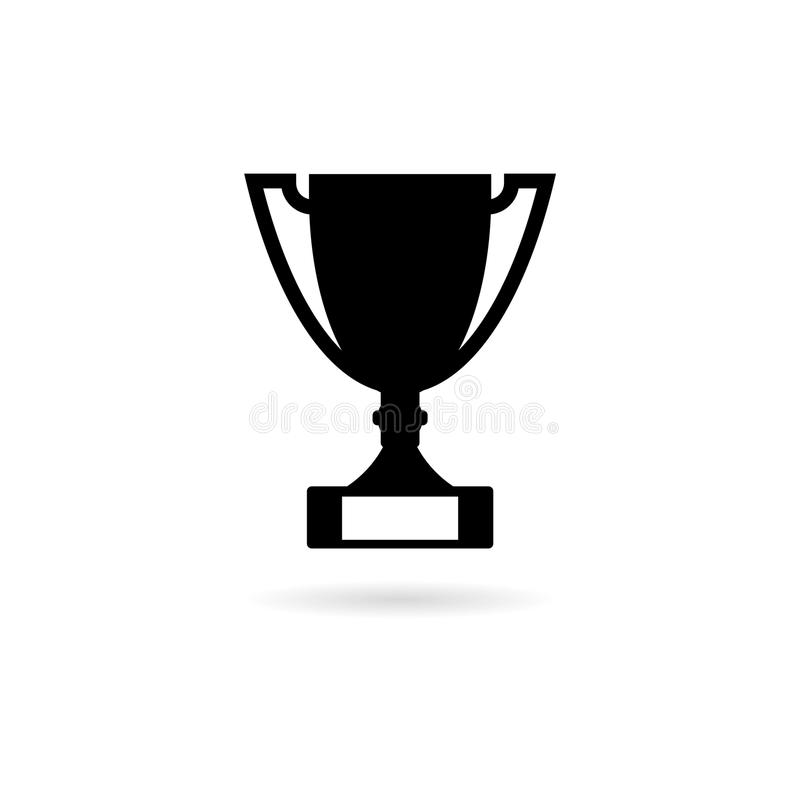 Black Trophy Cup icon. Simple vector icon stock illustration