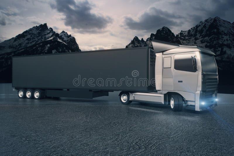 Black truck on landscape background vector illustration