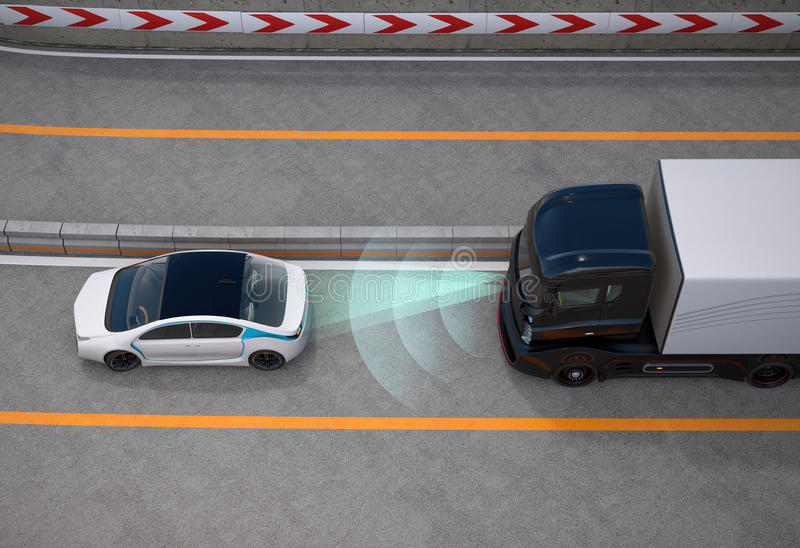 Black truck stopped on highway by automatic braking system. 3D rendering image royalty free illustration