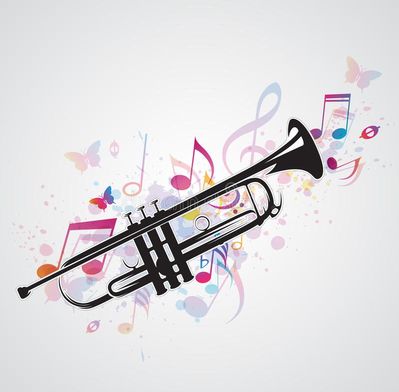Download Black Trumpet And Notes Stock Photography - Image: 30705532