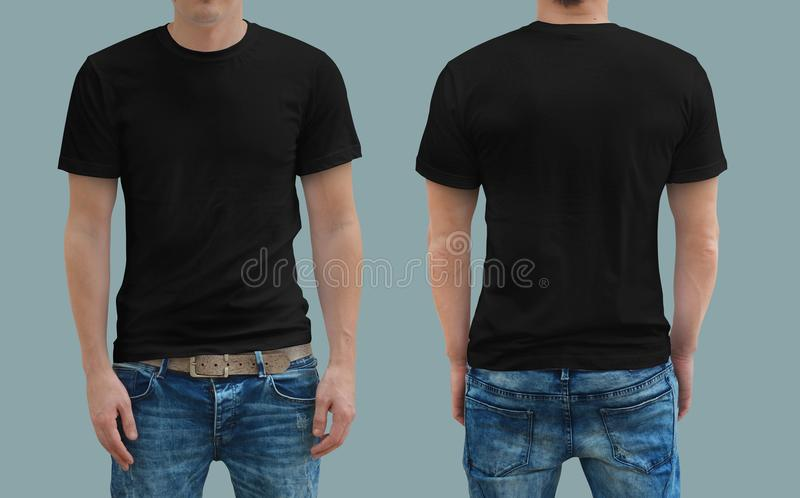 Black tshirt on a young man template royalty free stock photo