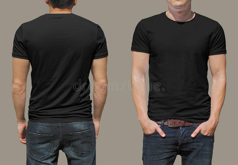 Black tshirt on a young man template royalty free stock photography