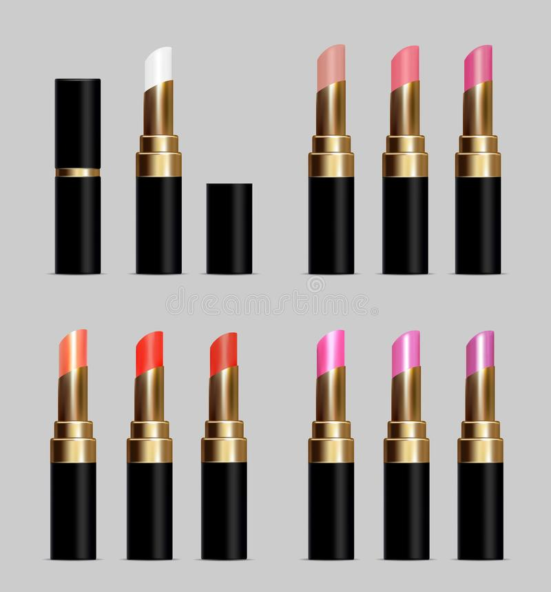 Black tubes with color lipstick royalty free illustration