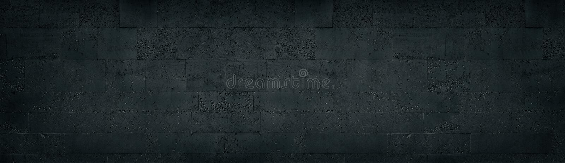 Black tuff brick wall long texture. Dark rough stone block masonry panoramic background vector illustration