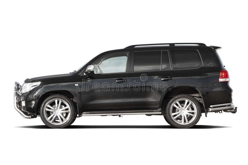 Black tuned SUV. Side view of black tuned luxury SUV isolated on white stock photo