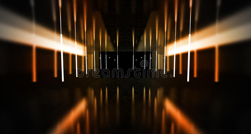 Black tunnel, black gloss, neon lamps hanging from the ceiling, reflected in the walls and floor. Night view of the corridor. Abstract dark hall interior royalty free stock image