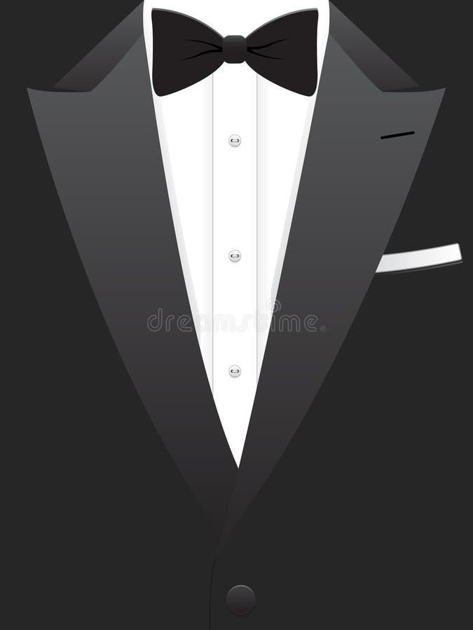 Black Tuxedo EPS. A vector illustration of a man's black tuxedo and bow tie