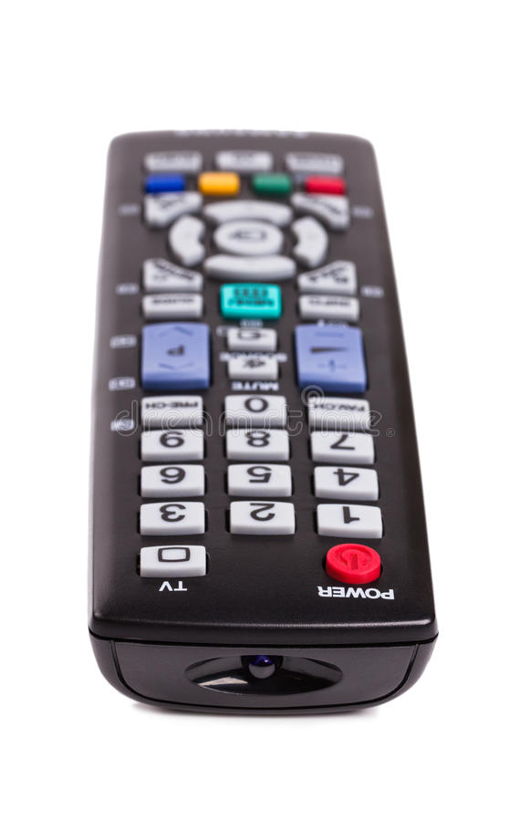 Download Black TV Remote Control Isolated On White Stock Image - Image: 25263495