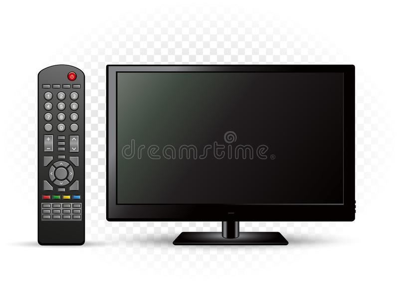 Black TV with remote control. On white transparent background stock illustration