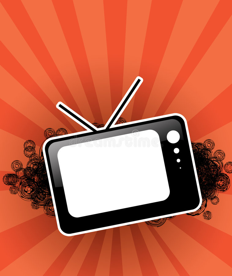 Black tv set for text. At red background vector illustration