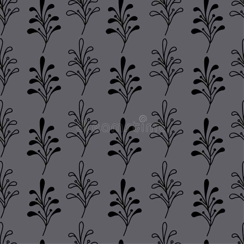 Black twig seamless pattern,forest motif stock images
