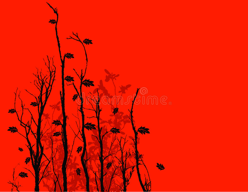 Black twigs background. Illustration of black twigs on red background with space for text royalty free illustration