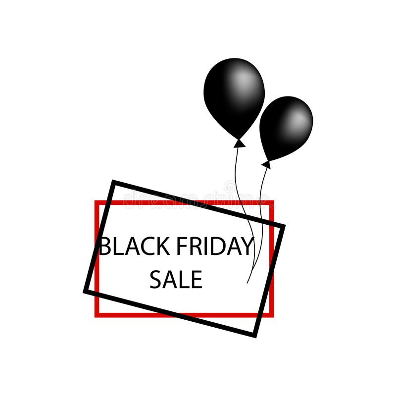 Black two balloons and frames black friday Sale banner template design. Big sale special offer. Special offer banner for poster, royalty free illustration